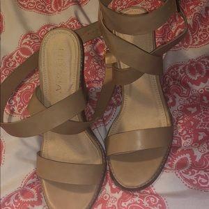 Nude wrap around heels